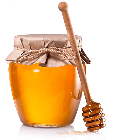 An image of a honey jar filled with golden honey.